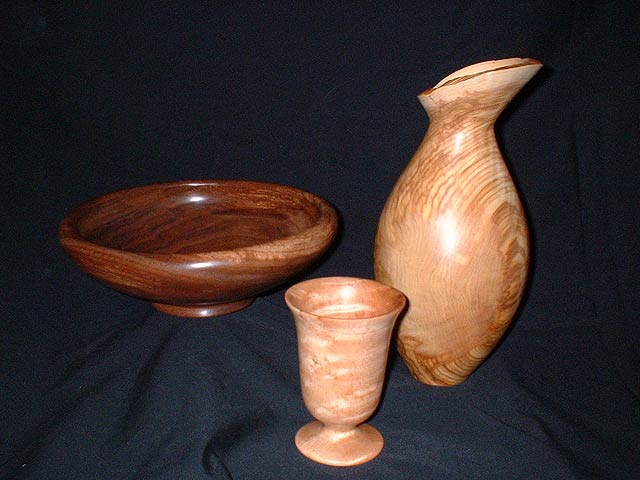 A closeup of a unique woodturning by Peter Kinsella.